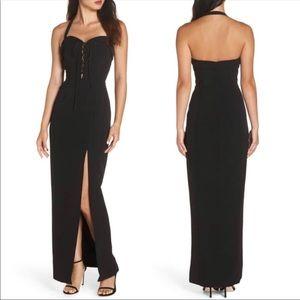 WAYF Sydney Halter Lace Up Convertible Maxi Dress